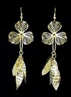 Romwe Hollow Leaves Gold Earrings