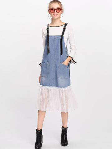 Romwe Mesh Contrast Overall Denim Dress