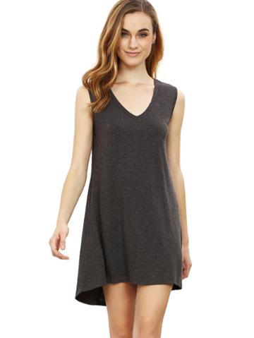 Romwe Grey Minis Sleeveless Vest Casual Dress