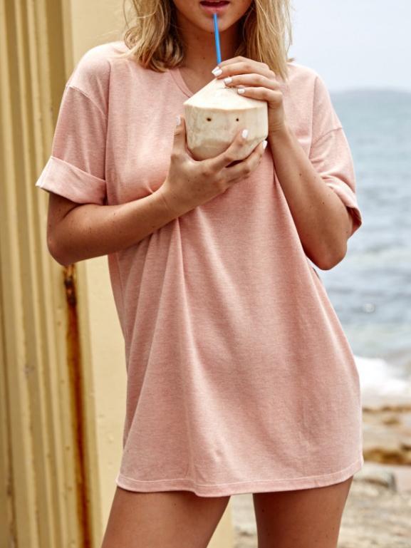 Romwe Pink Cuffed Tshirt Dress