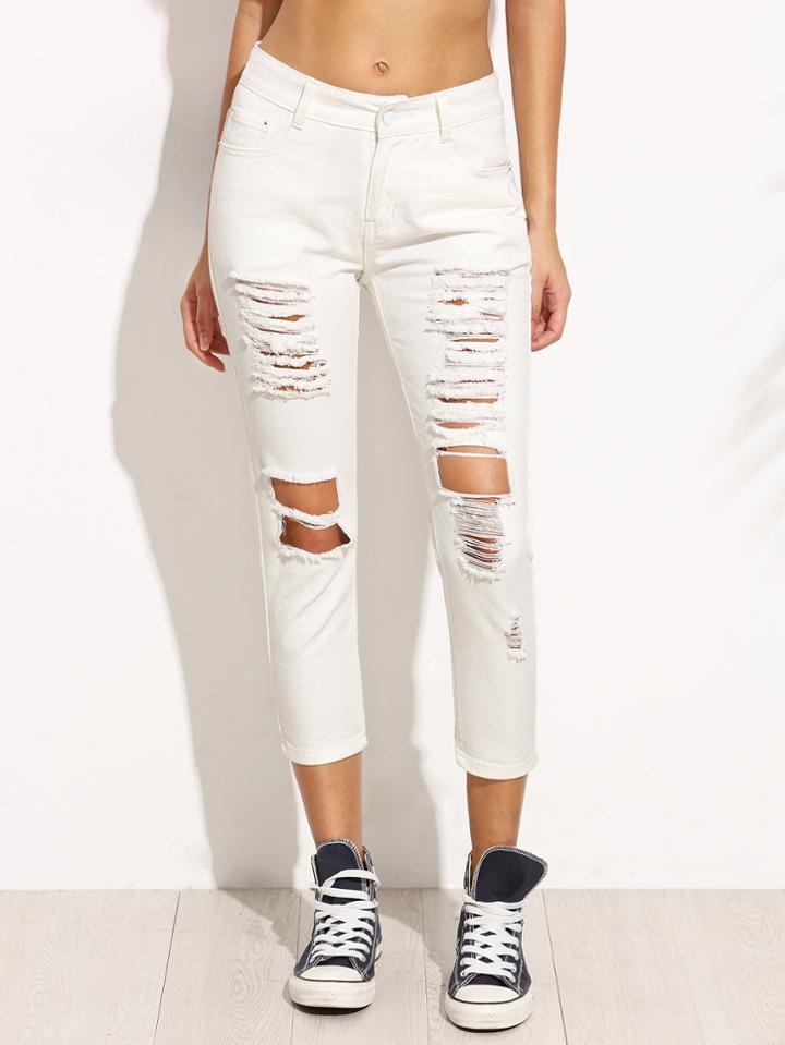 Romwe White Ripped Denim Skinny Jeans