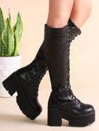 Romwe Black Faux Leather Lace Up Platform Zipper Knee Boots