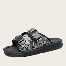 Romwe Guys Camouflage Print Open Toe Slippers