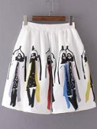 Romwe White Printed Zipper Pleated Skirt