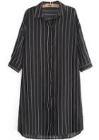 Romwe Dip Hem Vertical Striped Black Blouse