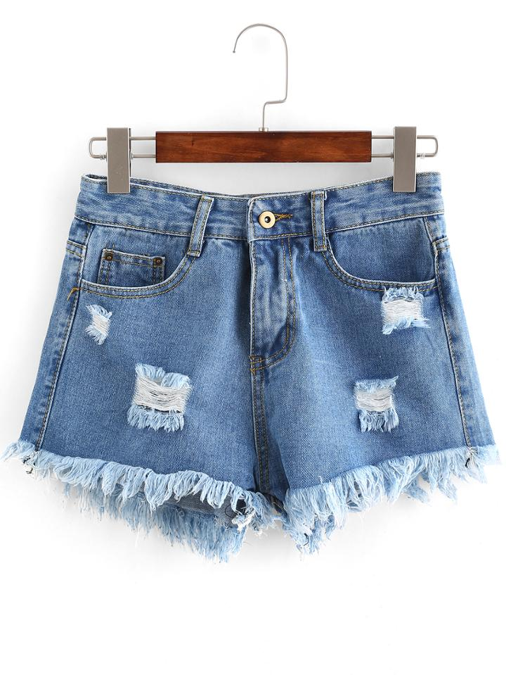 Romwe Distressed Light Wash Denim Shorts