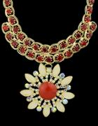 Romwe Red Gemstone Chain Necklace