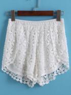 Romwe Elastic Waist Lace Crochet Split Shorts