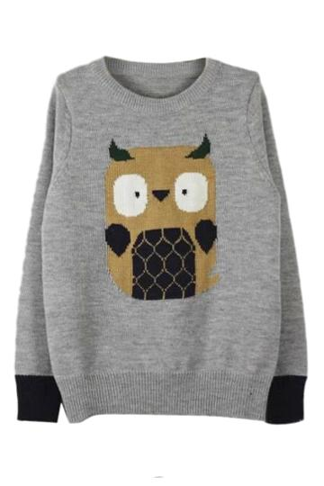 Romwe Romwe Owl Knitted Grey Jumper