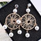 Romwe Faux Pearl Hollow Round Drop Earrings