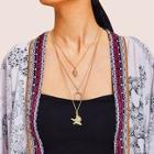 Romwe Starfish & Moon Pendant Layered Chain Necklace 1pc