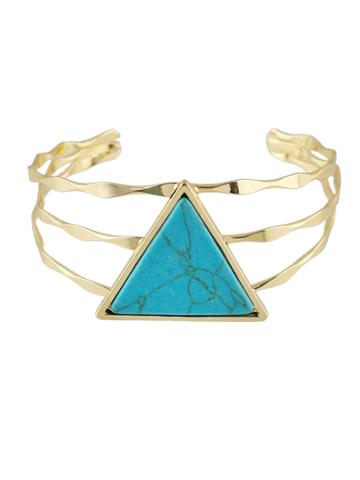 Romwe Blue Color  Wide Cuff Bangles Bracelets