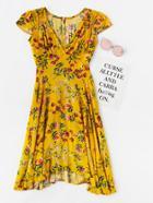 Romwe Ditsy Print Asymmetric Dip Hem Keyhole Back Dress