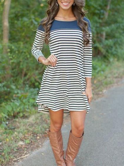 Romwe Women Color Block Blue Striped Tshirt Dress