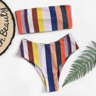 Romwe Random Striped Bandeau With High Leg Bikini Set