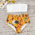 Romwe Bandeau With Floral High Waist Bikini