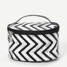 Romwe Chevron Zipper Around Makeup Bag