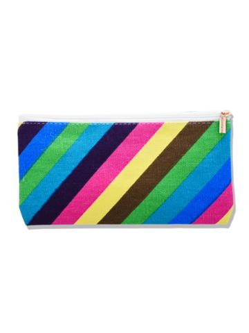 Romwe Color Block Striped Canvas Makeup Bag