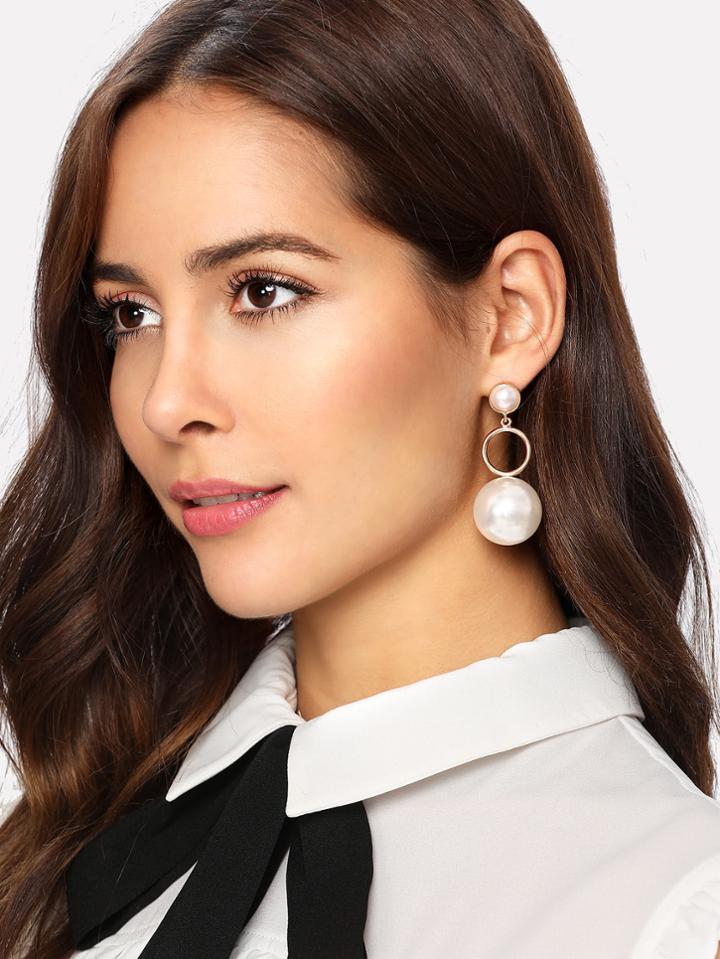 Romwe Faux Pearl & Ring Design Drop Earrings