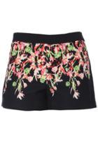 Romwe Romwe Floral Painting Print Black Shorts