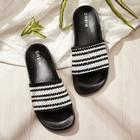 Romwe Two Tone Open Toe Plaited Slippers
