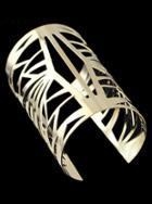 Romwe Gold Geometric Hollow Cuff Bracelet