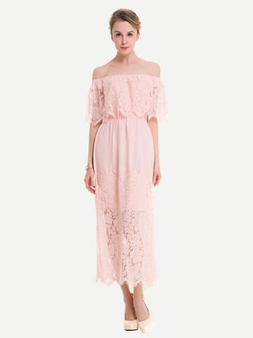 Romwe Floral Eyelash Lace Layered Neckline Dress