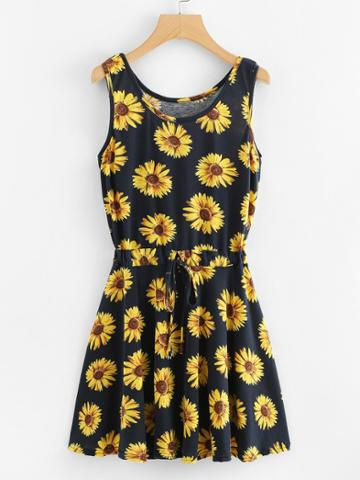 Romwe Sunflower Print Drawstring Waist Dress