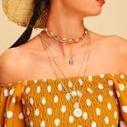 Romwe Star & Shell Pendant Layered Necklace 2pcs