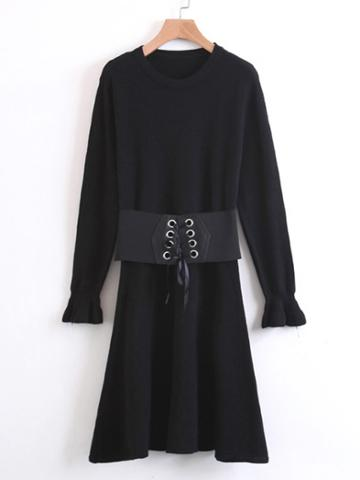 Romwe Fluted Sleeve Sweater Dress With Lace Up Belt