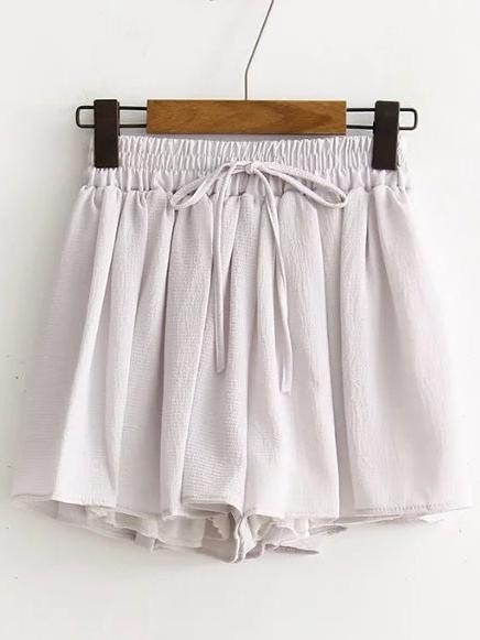 Romwe Grey Drawstring Chiffon Shorts