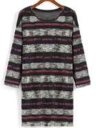 Romwe Round Neck Striped Long Sweater