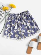 Romwe Floral Print Random Drawstring Pompom Pleated Shorts