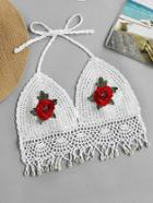 Romwe Halterneck Embroidered Appliques Crochet Top