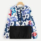 Romwe Plus Colorblock Camo Print Hooded Jacket