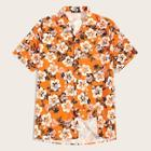 Romwe Guys Notch Collar Floral Print Shirt