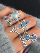 Romwe Gemstone Vintage Rings Set 6pcs