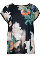 Romwe Floral Print Black Shirt