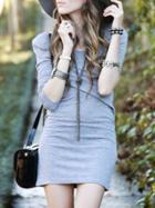 Romwe Grey Scoop Neck Tshirt Dress