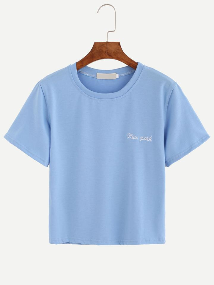 Romwe Blue Letter Embroidered T-shirt
