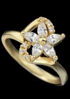 Romwe Gold Diamond Flower Ring
