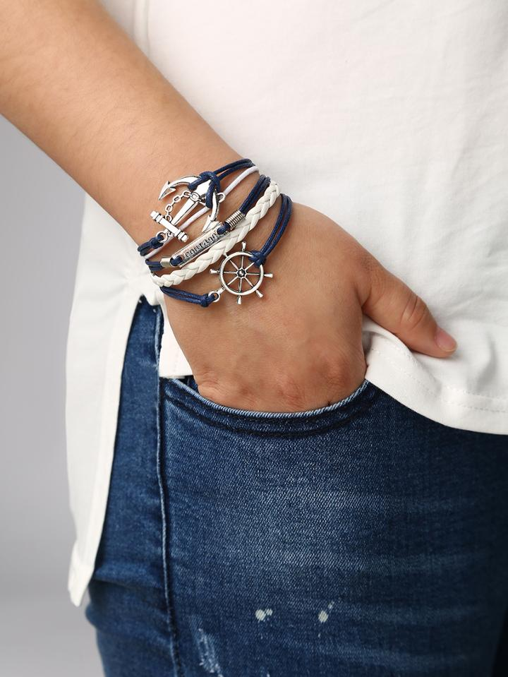 Romwe Braided Leather Bracelet With Anchor And Rudder