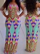 Romwe Geometry Color Block Tube Maxi Dress