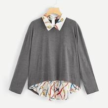 Romwe Plus Contrast Chain Print 2 In 1 Blouse