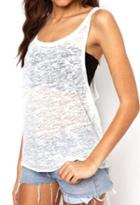Romwe Y-back Loose White Cami Top