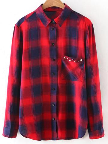 Romwe Red Long Sleeve Studded Pocket Plaids Blouse