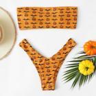 Romwe Random Bat & Pumpkin Print Bandeau Bikini