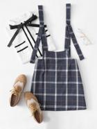 Romwe Checked Pinafore Skirt