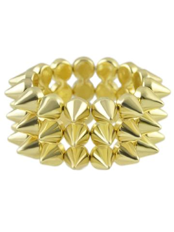 Romwe Gold Spike Elastic Bangles And Bracelets