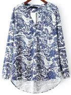 Romwe V Neck Print High Low Blouse